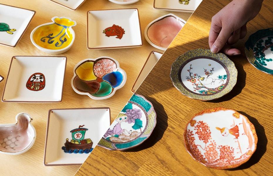 Brilliant Kutani ware plates