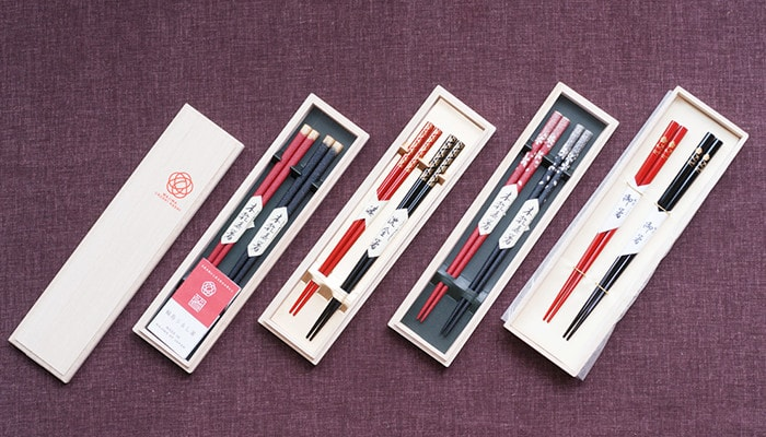 4 types of Wajima Urushi chopsticks within paulownia boxes