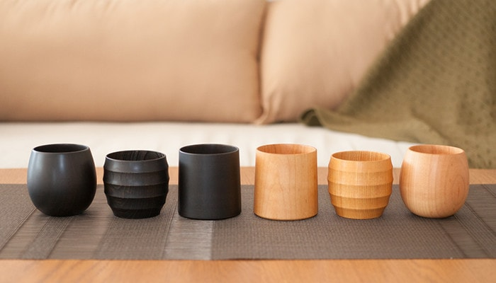 6 wooden cups from Gato Mikio Store on the table