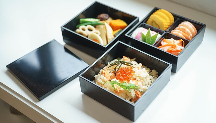 Osechi and rice in Japan Design Store original jubako boxes