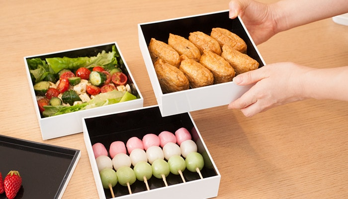 Salad, Inarizushi, and Hanami dumpling in Japan Design Store original jubako boxes for outing