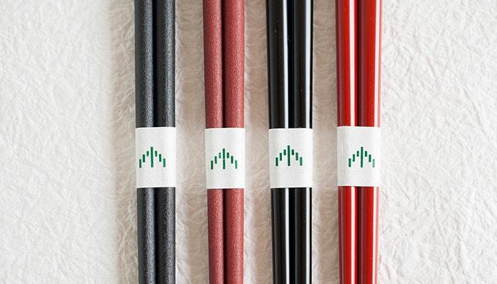 輪島キリモトの楕円箸の各種類が横に並んでいる