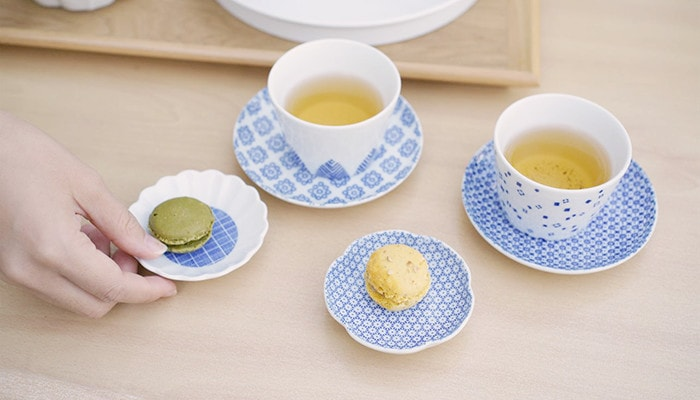 Teatime with soba choko cups as teacups, kozara as saucers, and mamezara as dessert plate