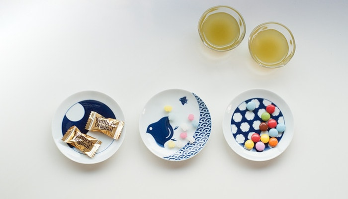 Some snacks on KOMON plates of KIHARA