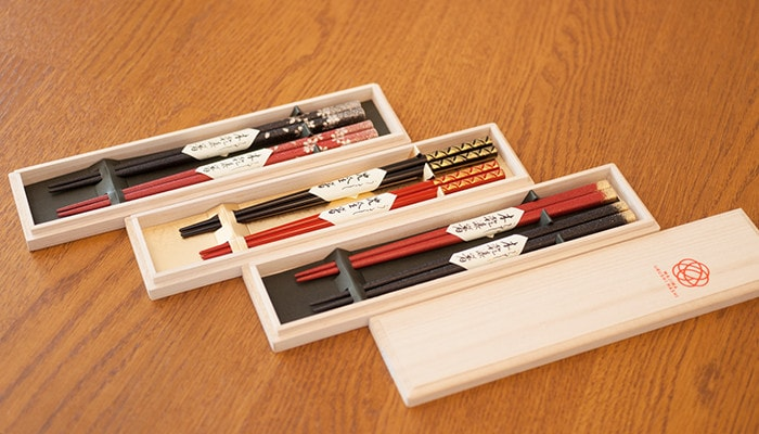 3 types of Wajima urushi chopsticks sets from Hashimoto Kousaku Shikkiten