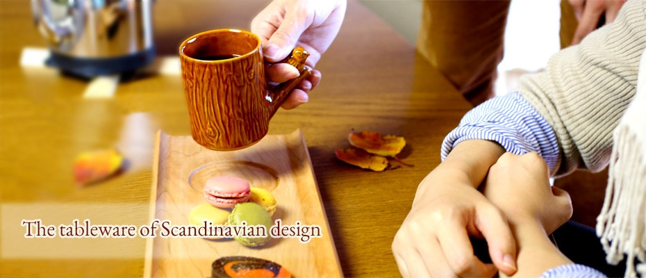 Home cafe with Scandinavian tableware