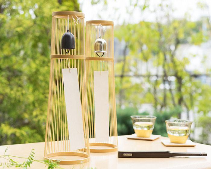 WDH置き風鈴が2つと水の入った箔一冷茶グラス