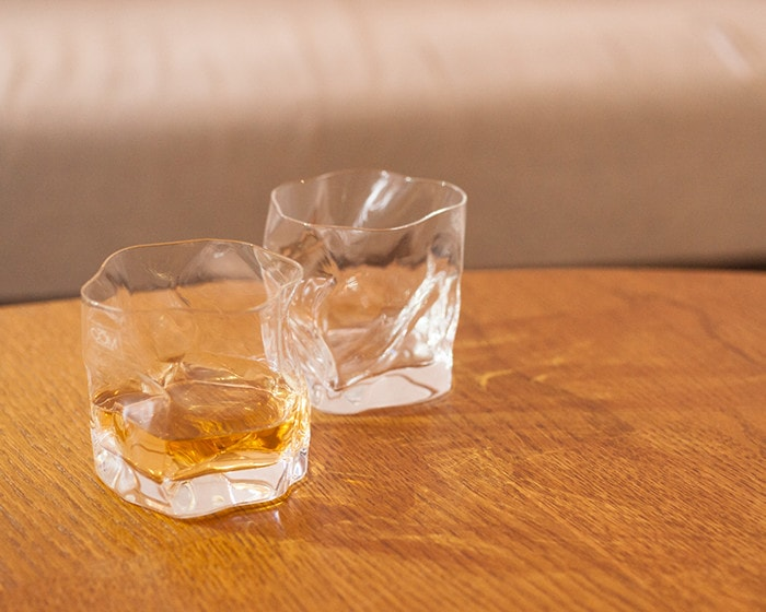 Pair of CRUMPLE OLD whiskey glasses from Kimura Glass