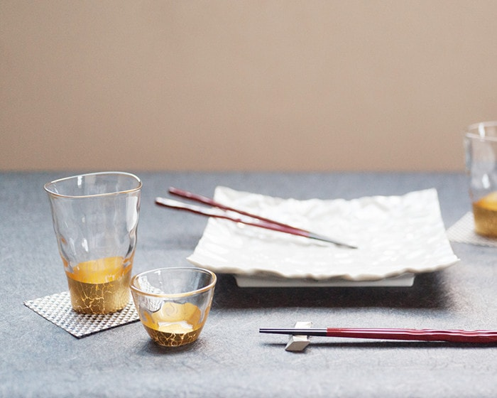 Gold leaf glass and sake glass of Kannyu series from Hakuichi