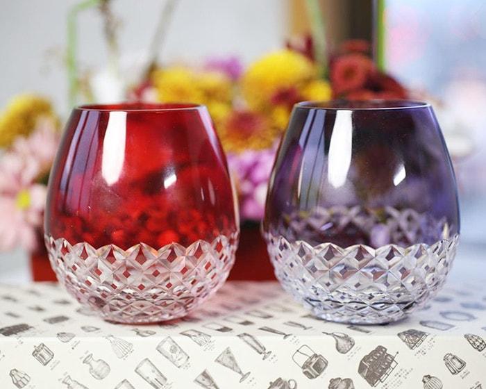 Red and purple Karai glasses from Hirota Glass