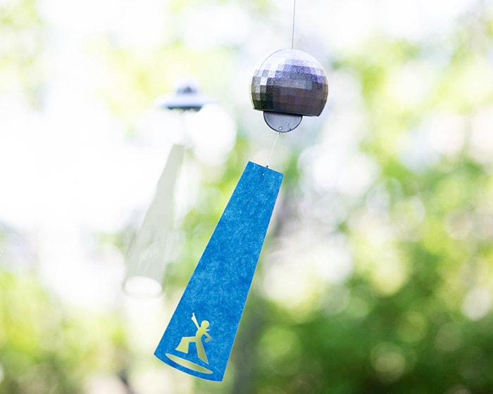 Disco ball wind chime from Nousaku in breeze