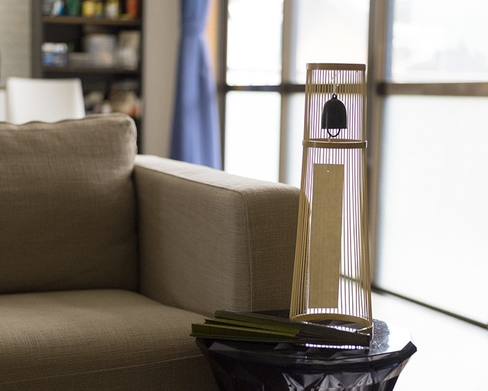 Tabletop wind bell from WDH on the end table