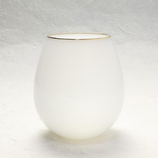 グラス/花蕾 Karai 北海道ミルク 乳白色 金/廣田硝子