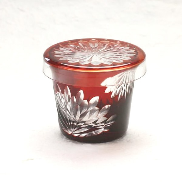 Futa Choko / Small glass with a lid / Yaegiku  / Hirota Glass