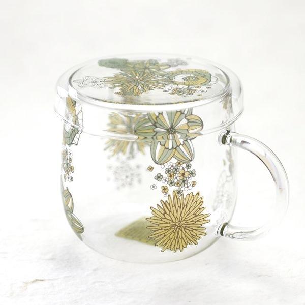 マグカップ/Tea Mate フラワーパターン グリーン 花柄/セメントプロデュースデザイン
