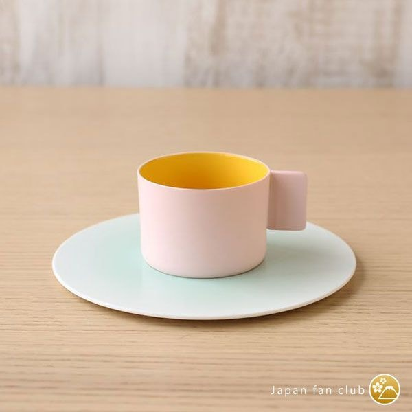 Coffee Cup & Saucer/ Pink Yellow ×Light blue/ S&B Series/ 1616 arita japan
