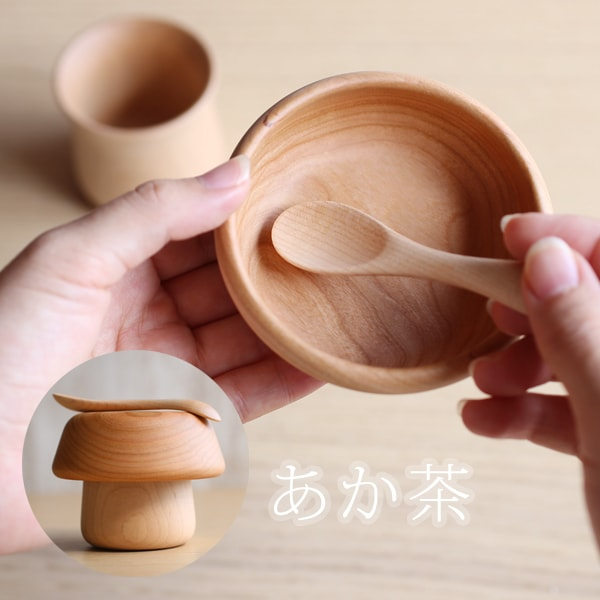 Mushroom wooden bowl and spoon for baby / Cherry tree / Sunao Lab