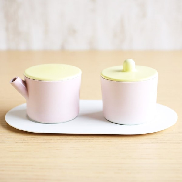 Sugar and Creamer Set with Tray/ Light Yellow & Light Pink/ S&B Series/ 1616 arita japan