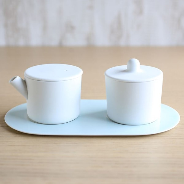 Sugar and Creamer Set with Tray/ White&Blue/ S&B Series/ 1616 arita japan