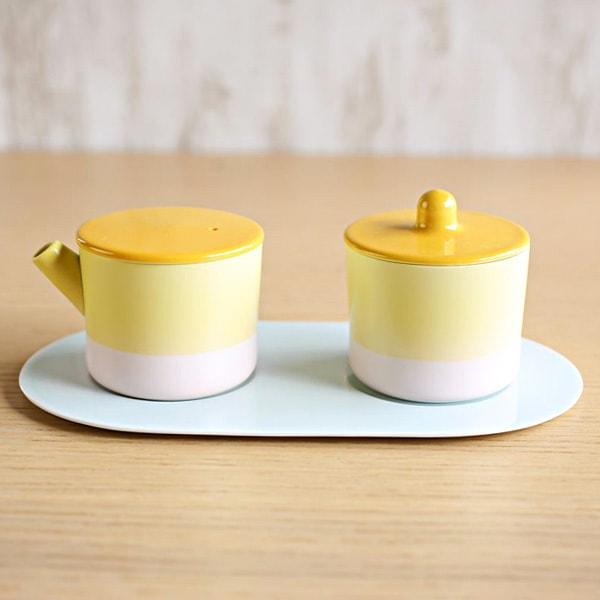 Sugar and Creamer Set with Tray/ Yellow&Pink/ S&B Series/ 1616arita japan