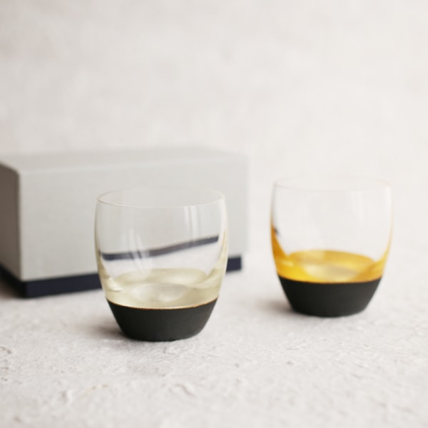 酒器/うるしの酒盃 丸型(銀黒、金黒ペアセット) 2個入り/鳥羽漆芸
