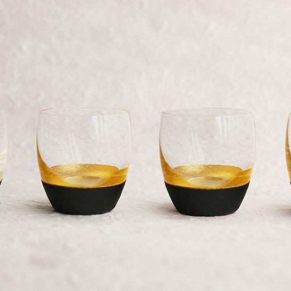 酒器/うるしの酒盃 丸型(金黒ペアセット) 2個入り/鳥羽漆芸