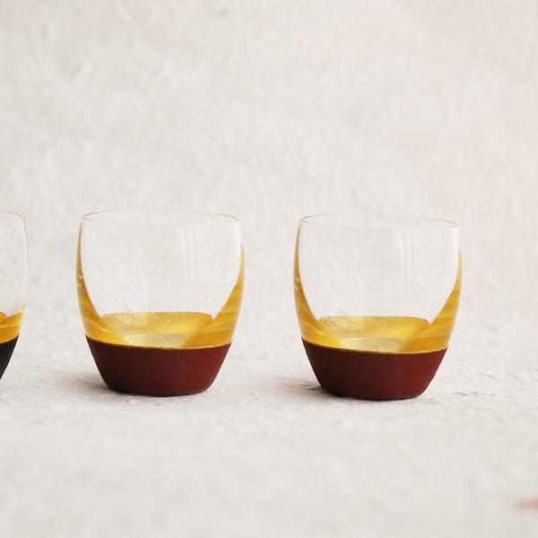 酒器/うるしの酒盃 丸型(金赤ペアセット) 2個入り/鳥羽漆芸