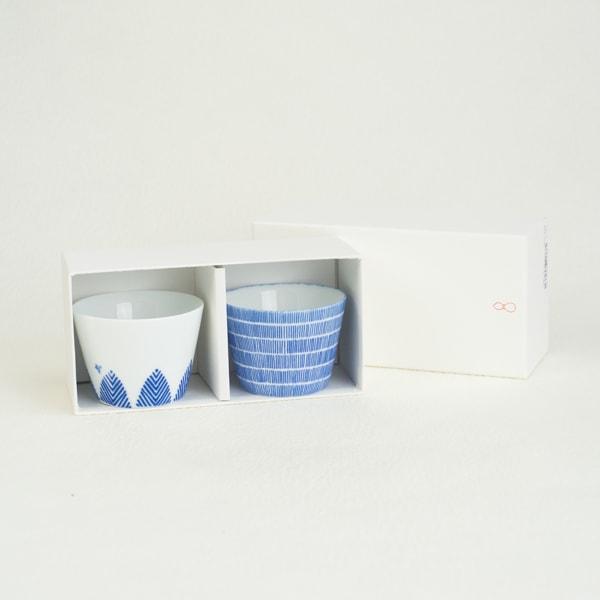 お皿/印判そば猪口 鳥と木と雨 ペアセット(化粧箱入り)/東屋