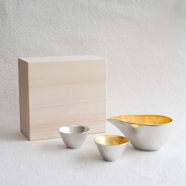 [Set] [Paulownia box] 1 Katakuchi S Gold + 2 KIKI-Ⅱ(Gold & Silver) / Nousaku
