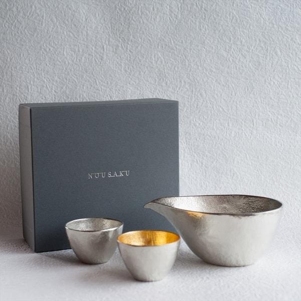 [Set][Exclusive box] 1 Katakuchi L Silver + 2 Guinomi (Gold & Silver)