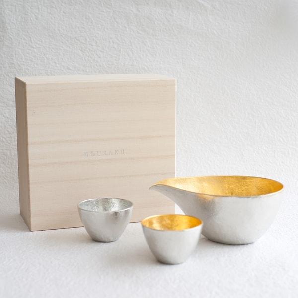 [Set] [Paulownia box] 1 Katakuchi L Gold + 2 Guinomi (Gold & Silver) / Nousaku