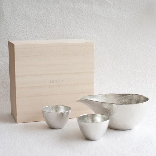 [Set][Exclusive box] 1 Katakuchi L Silver + 2 Guinomi Silver/ Paulownia box