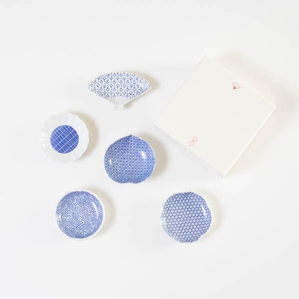 【セット】印判豆皿 5枚組丸型(化粧箱入)/東屋