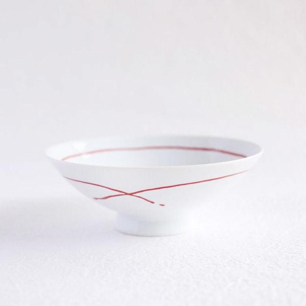 Flat rice bowl / Red Line Glossy AB-9 / Hakusan Toki