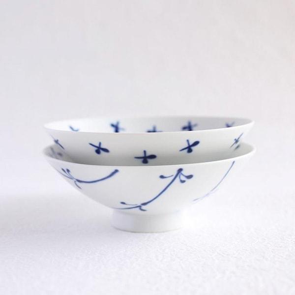 【セット】平茶碗ペア ブルーフラワー(化粧箱入)/白山陶器