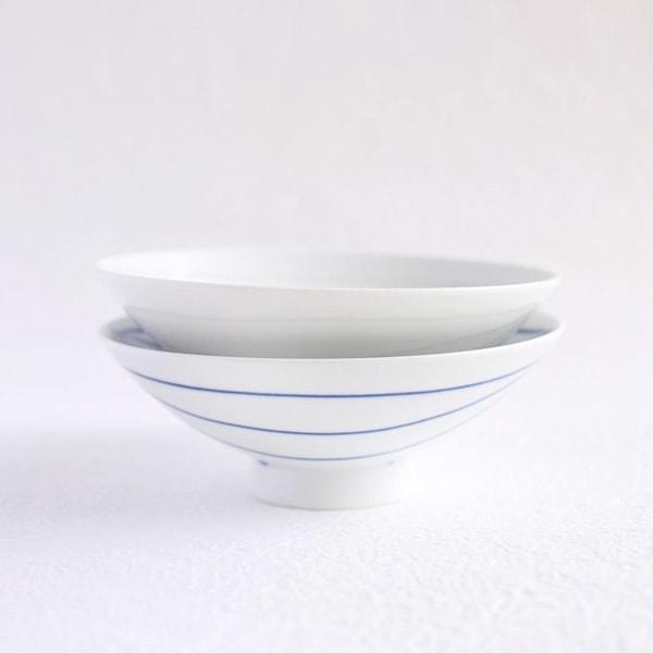 【セット】平茶碗ペア ブルー&ホワイト(化粧箱入)/白山陶器
