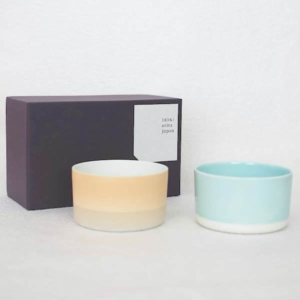 [Set] [Exclusive Box] / Teacup / Orange & Light blue / S&B series / 1616 arita japan