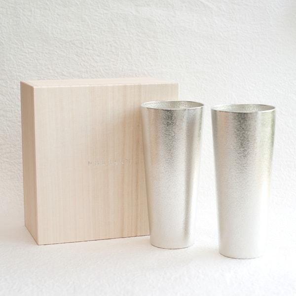 [Set] [Paulownia box] Pair beer cup L / Nousaku