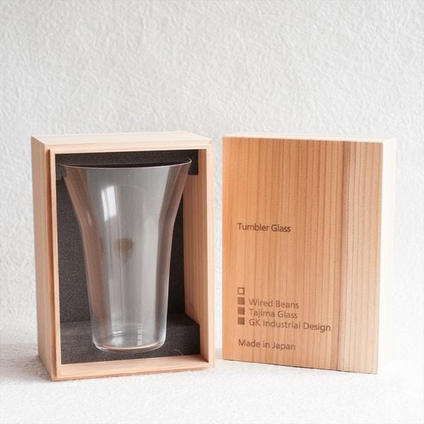 生涯を添い遂げるグラス タンブラー240 うす吹きトランスペアレント(木箱入)/WIRED BEANS