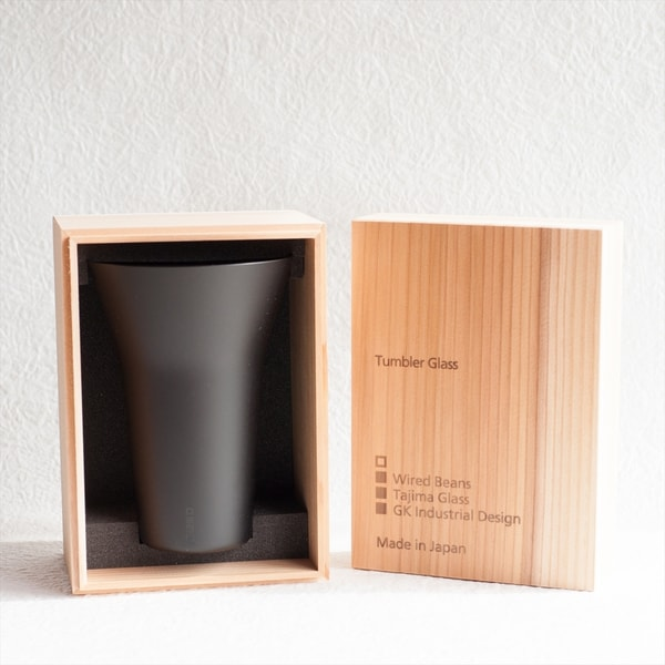 生涯を添い遂げるグラス タンブラー240 うす吹きブラックマット(木箱入)/WIRED BEANS