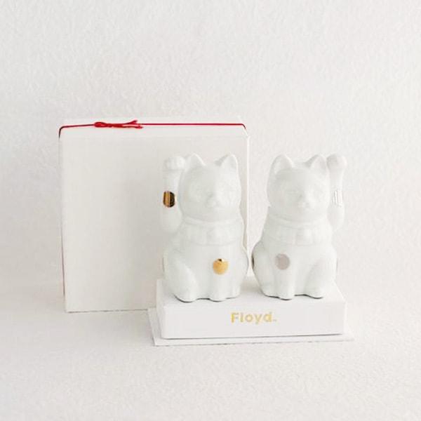 招き猫 ・白/フォーチュンキャット ホワイト/Floyd