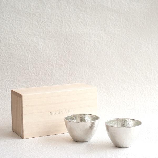[Set] [Paulownia box] Pair Guinomi / Silver / Nousaku