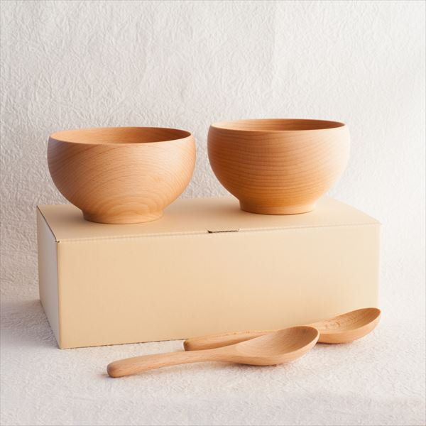 [A Set of 2 bowls and 2 china spoons]Meibokuwan / Beech wood / Medium bowls with China spoons (Exclusive box) / Sonobe