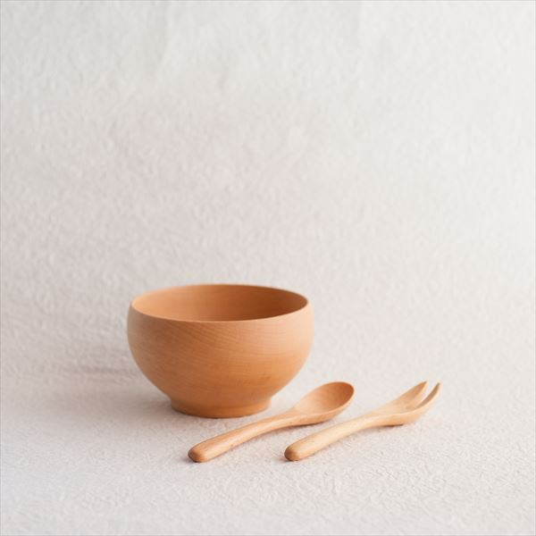 【A Set of 1 bowl, 1 Fork, 1 Spoon】Meibokuwan/Beech wood/Small bowl with fork and spoon/ Sonobe