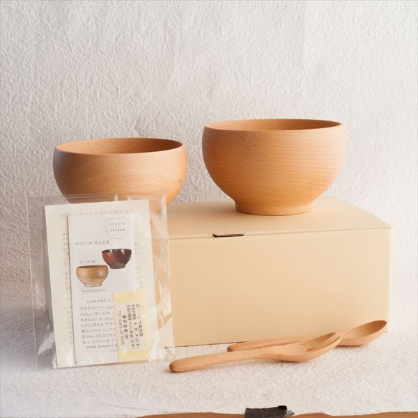 [Set of 4] [Exclusive box] 2 Meibokuwan + Fork & Spoon / Wooden soup bowl / Small & Medium / Sonobe