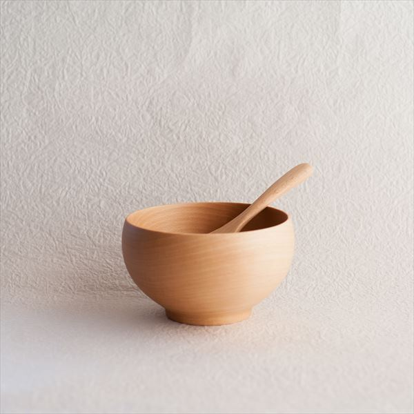 [Set] Meibokuwan & China spoon / Wooden soup bowl / Large / Sonobe