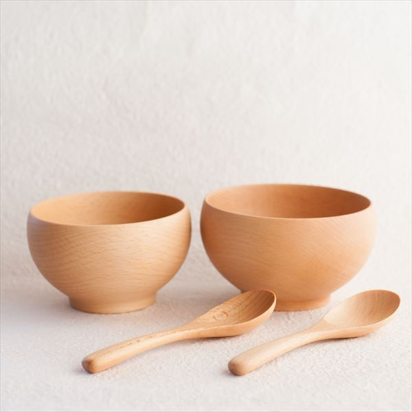 【A Set of 2 bowls and 2 china spoons】Meibokuwan/Beech wood/Medium and Large bowls, China spoons (Exclusive box)/ Sonobe