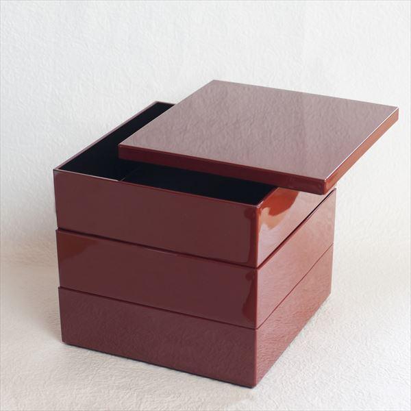 【セット】6.5寸三段重 深紅(仕切り&梅水引バンド付き)