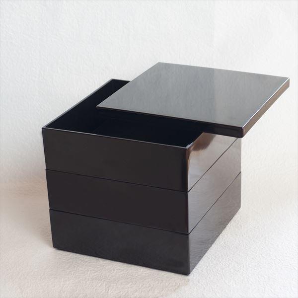 【セット】6.5寸三段重 漆黒(仕切り&梅水引バンド付き)