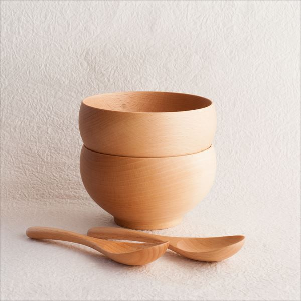 【A Set of 2 bowls and 2 china spoons】Meibokuwan/Beech wood/Large bowls with China spoons/ Sonobe